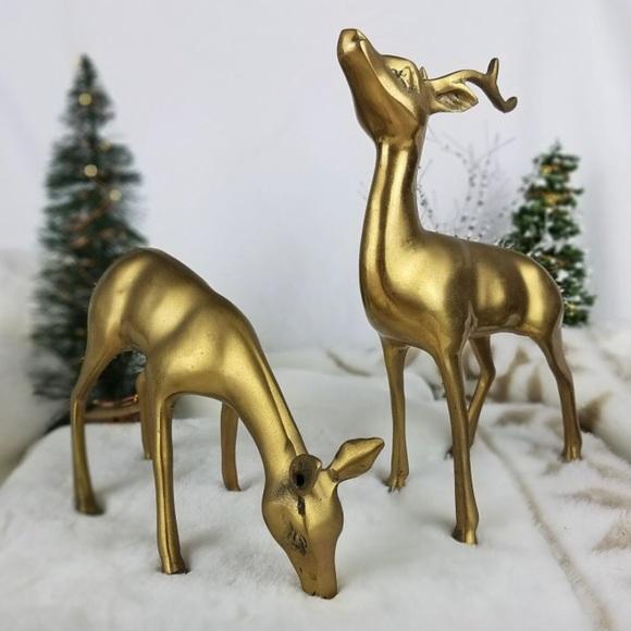 Vintage Brass Deer Set Winter Holiday MidMod Decor